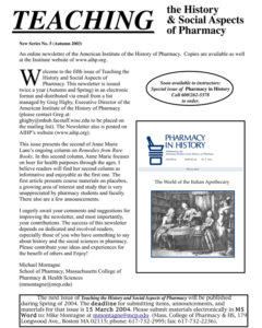 Teaching the History and Social Aspects of Pharmacy Newsletter cover