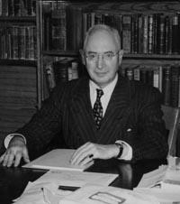 George Urdang at his desk at the UW School of Pharmacy in 1951.