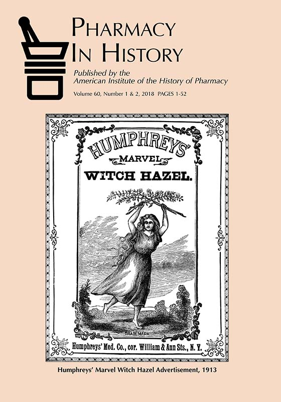Pharmacy in History, volume60, number 1 & 2 (2018) cover