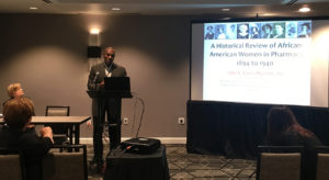 John Clark's presentation about the history of African-American women in pharmacy. (Photo courtesy of Naomi Rendina)