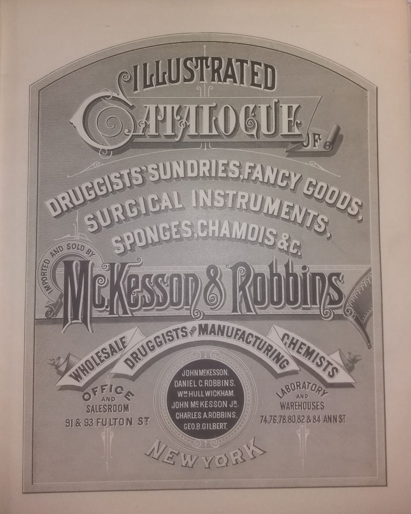 Cover page of the 1883 McKesson & Robbins catalog