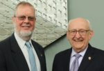 AIHP President W. Clarke Ridgway (left) and immediate past AIHP President William A. Zellmer at the 2019 AIHP Annual Board of Directors Meeting at the UW–Madison School of Pharmacy in June 2019.