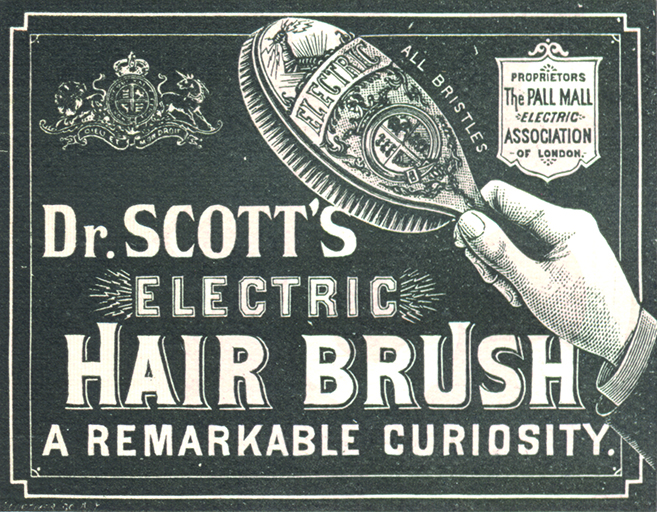 "Advertisement for ""Dr. Scott's Electric Hair Brush"" from the 1884 Peter Van Schaack & Sons catalog"