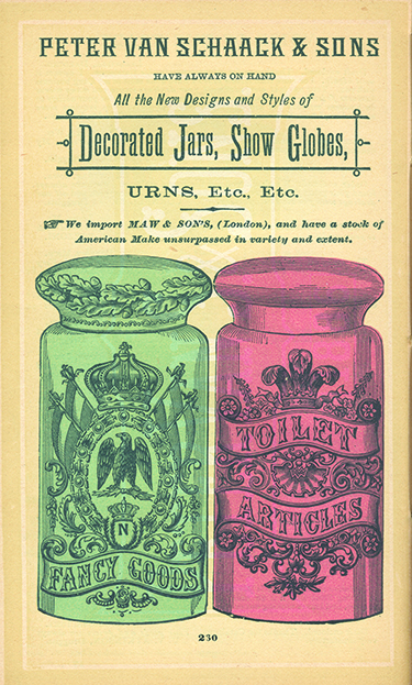 Advertisement for Decorated Jars from the 1886 Van Schaack and Sons catalog