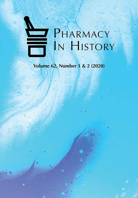 Pharmacy in History vol. 62, no. 1&2 (2020) cover